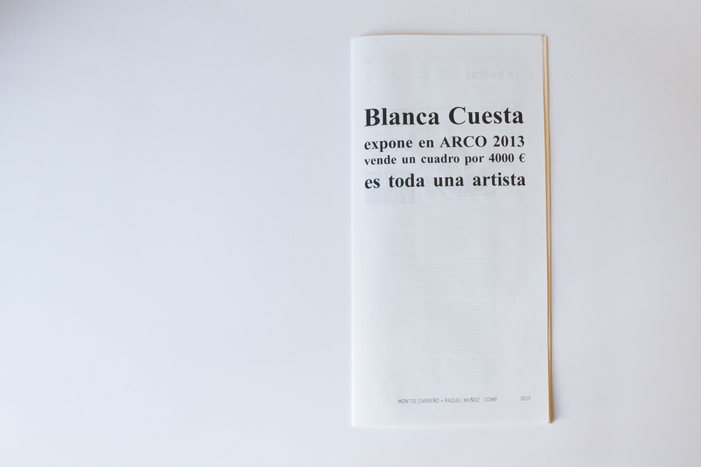 Blanca Cuesta es toda una artista libro de artista  Raquel Muñoz - Montse Carreño
